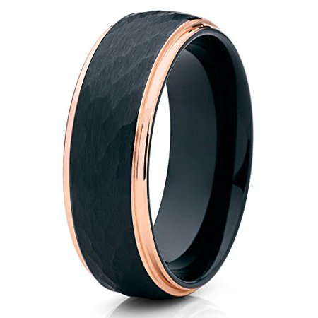 Tungsten Wedding Band 18K Rose Gold Tungsten Ring Hammered Black Tungsten Ring 8mm Men Women Comfort Fit