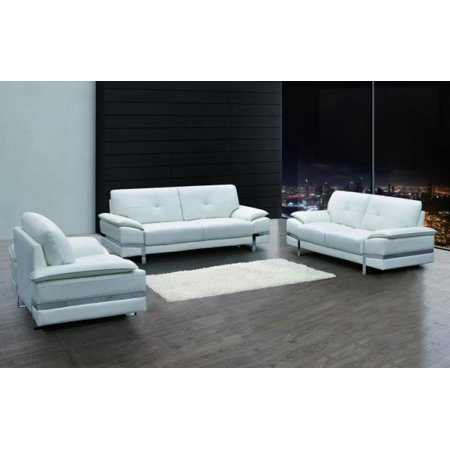 Maxwest P821 Contemporary White Genuine Italian Leather Sofa Set 3 Pcs