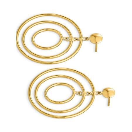 Boucles d'oreilles en or jaune 14k Fancy Cercle Dangle (post) de 33x45mm - image 2 de 3