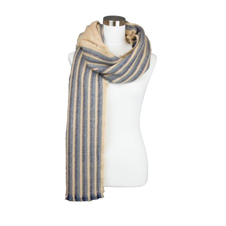 Womens Fall and Winter Half Striped Pattern Accent Design Oblong Style Cold Weather Scarf (Scary Half Mask)