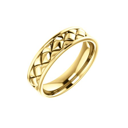 - 14K Yellow Solid Gold 6 mm Woven Design Wedding Band Ring Size 10