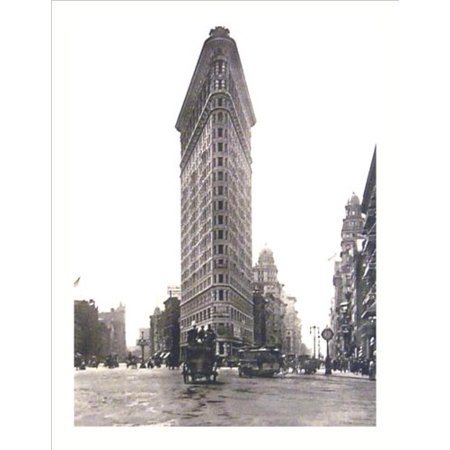 Flat Iron Building Turn of the Century Photograph 19.75x15.5 Art Print Poster   New York City Vintage Antique Horse and Buggy