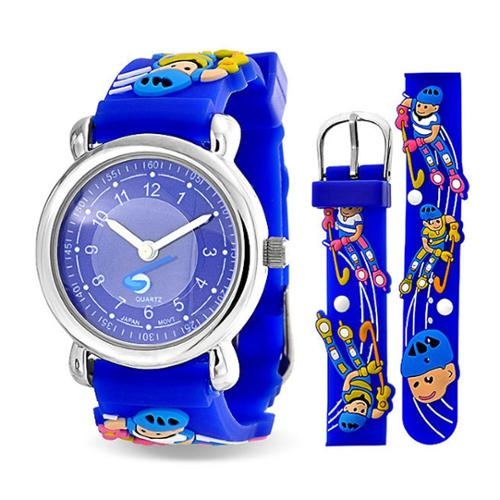 Bling Jewelry Blue Analog Roller Hockey Sports Kids Watch Stainless Steel Back