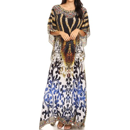 a5554222cca Sakkas Jabari Women s Maxi Short Sleeve Long Beach Kaftan Dress Boho Loose  Gown - OW15-