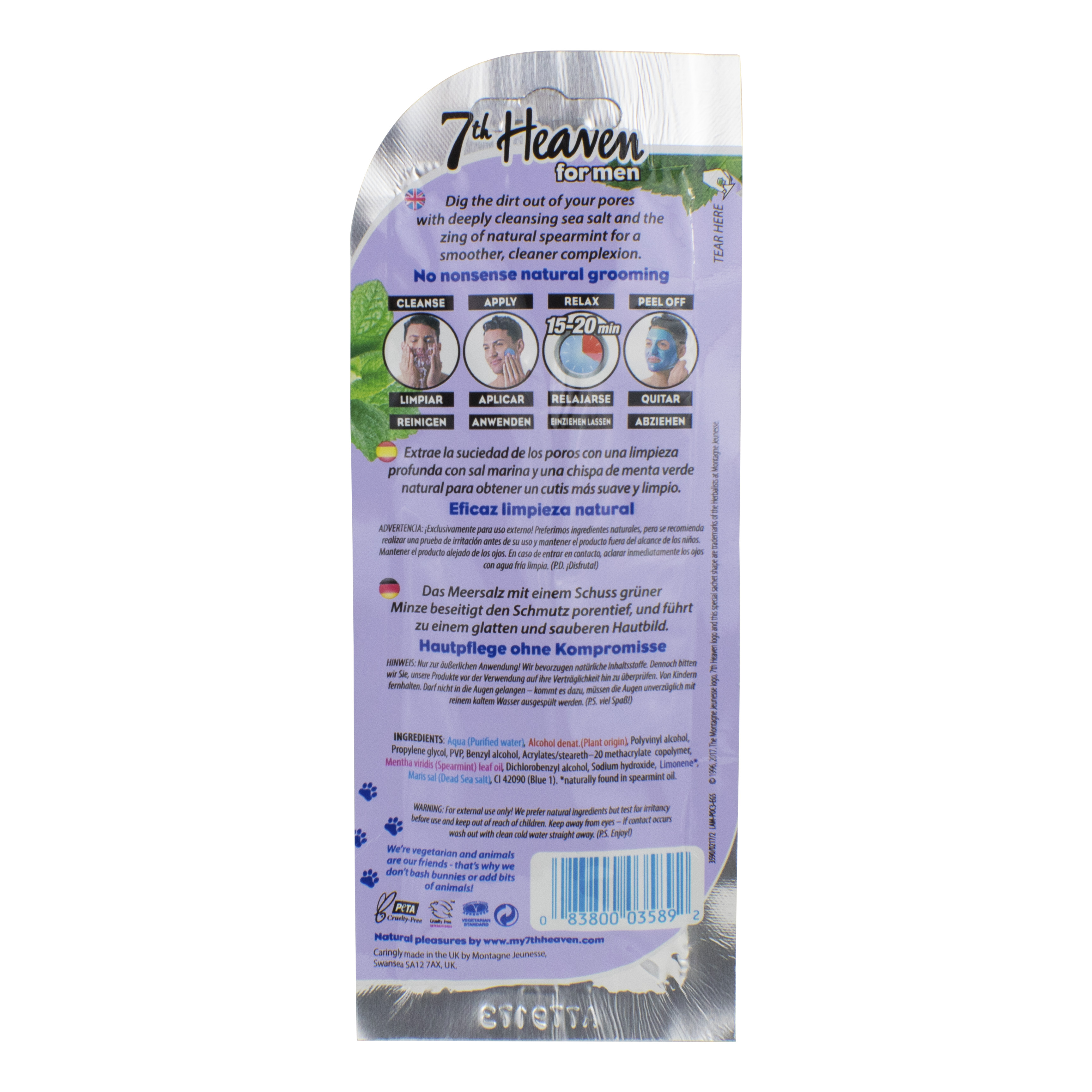 7th Heaven for Men, Peel-Off Deep Pore Cleansing Face Mask, 0.35oz Dr. Dennis Gross Ferulic + Retinol Wrinkle Recovery Overnight Serum - 5 Pack - Total 0.80 fl oz / 25ml