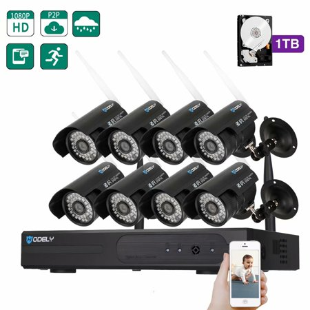 SUNZEO Outdoor Security Camera Wireless Wi-Fi 8CH 960P NVR Wifi Set 8PCS 720P 3.6mm 36-LED Waterproof IP Camera US Plug 1TB HDD Smart phone support iPhone, Android ,iPad (Wired Power Supply