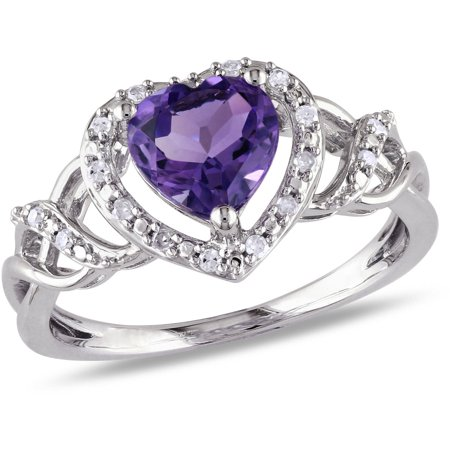 1-1/10 Carat T.G.W. Amethyst and Diamond-Accent Sterling Silver Double Heart - Amethyst Double Terminated