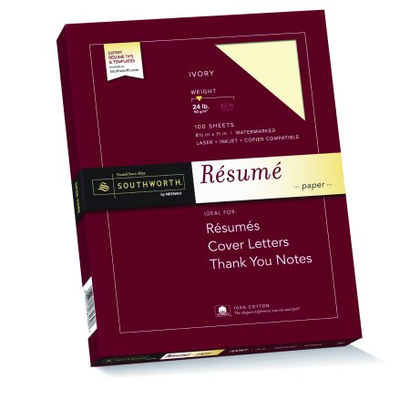 "Southworth 100% Cotton Resume Paper, 8.5"" x 11"", 24 lb., Wove Finish, Ivory, 100 Sheets"