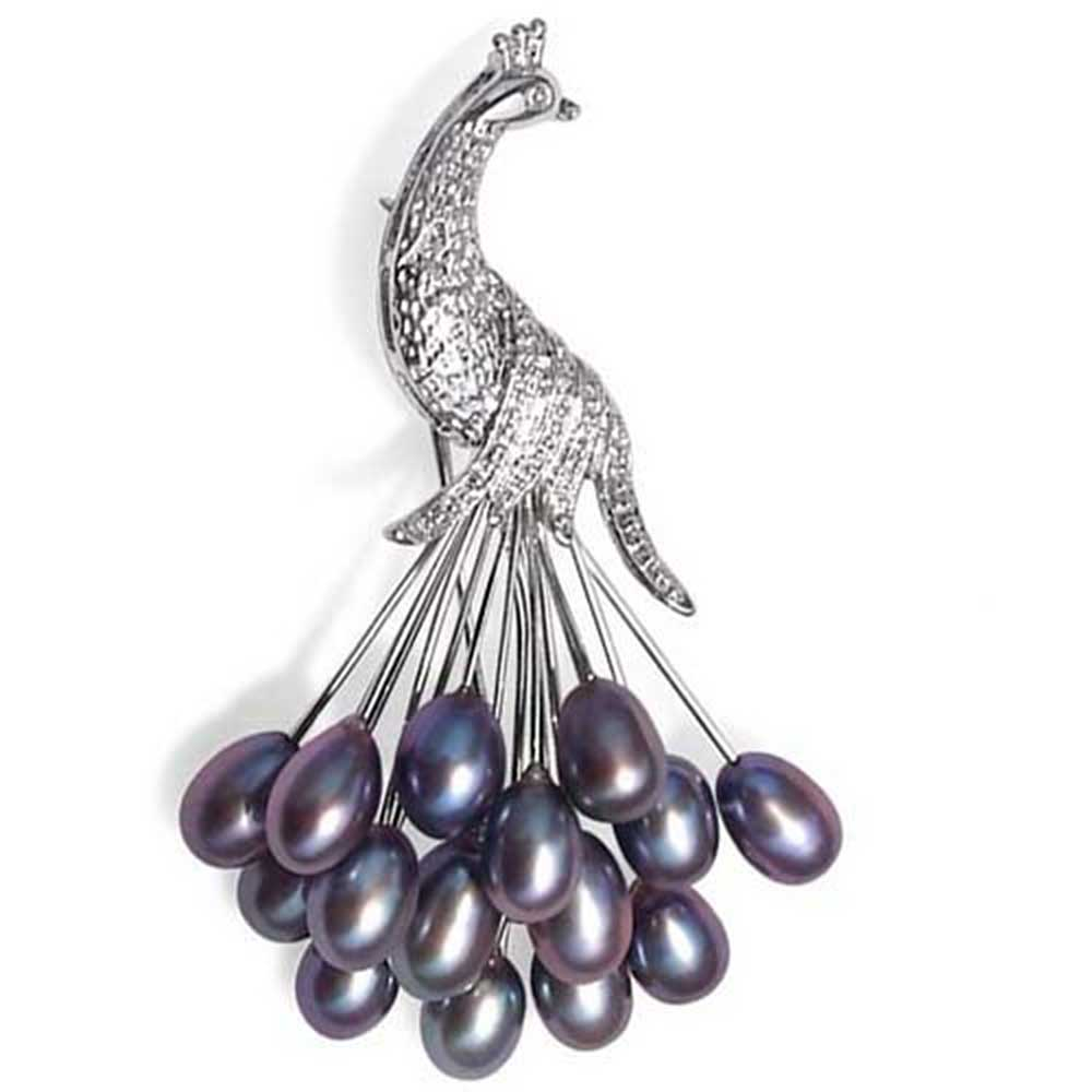 Bling Jewelry Clustered Black Freshwater Cultured Pearl Peacock Brooch Rhodium Plated by Bling Jewelry
