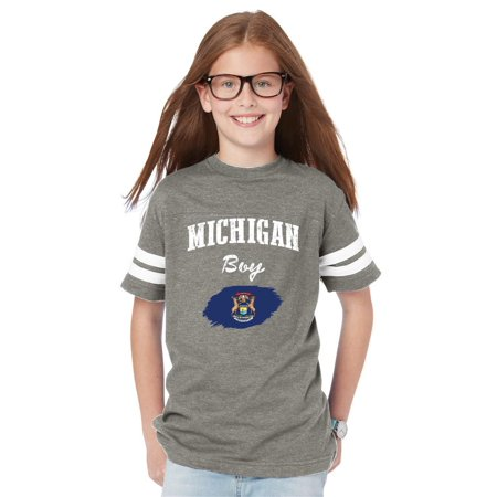 - Michigan Boy Youth Football Fine Jersey Tee