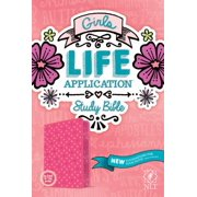 Girls Life Application Study Bible: New Living Translation, Pink Glow, Leatherlike