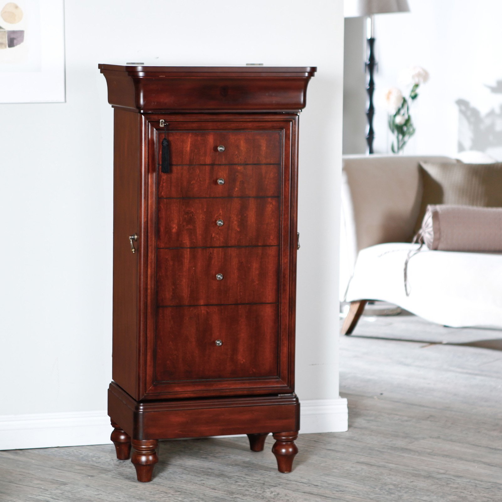 Belham Living Seville Antique Walnut Locking Jewelry Armoire