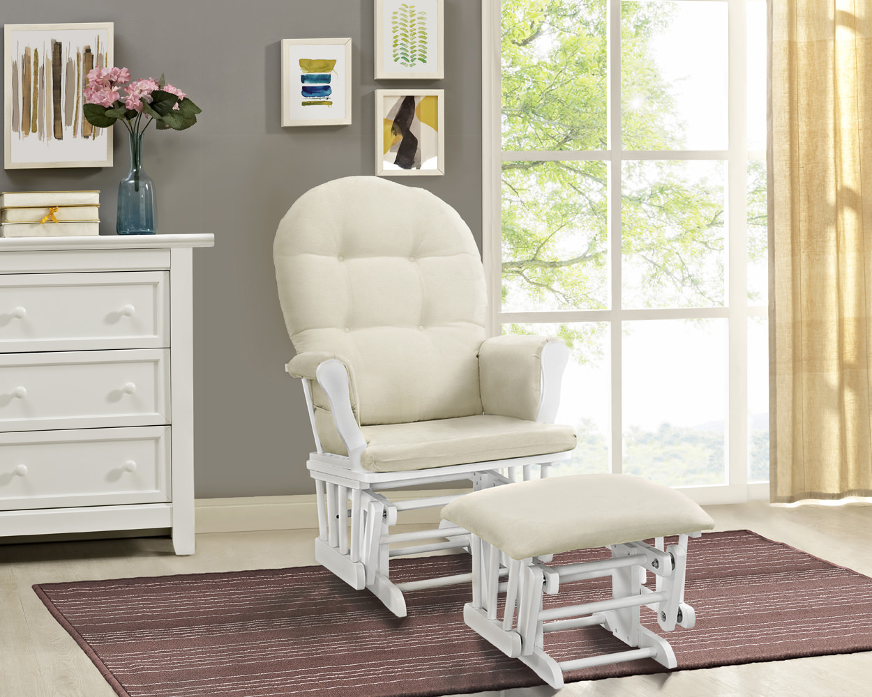 Angel Line Windsor Glider and Ottoman White Finish and Gray Cushions ...