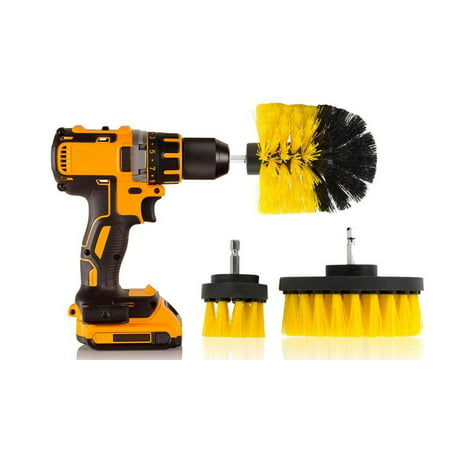 3 Piece Power Scrubber Drill Bit Kit - Power Drill All Purpose Cleaning Brush DrillBits - Home Cleaning Tools Small Medium Large Scrubbing Brushes ()