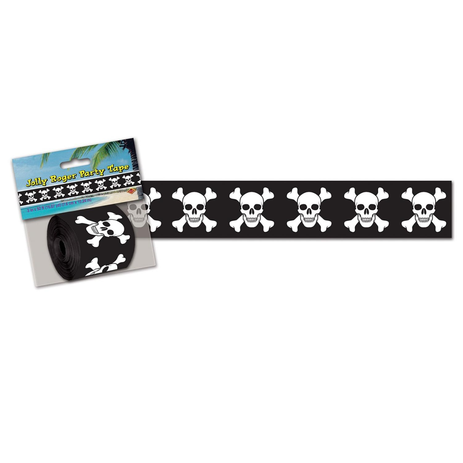 Club Pack of 12 Black and White Jolly Pirate Poly Decorating Streamers 50'