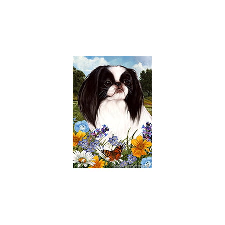 Japanese Chin Black and White - Best of Breed Summer Flowers Garden