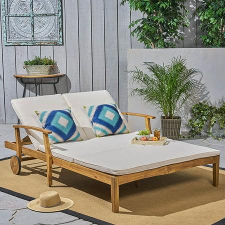 Danielle Outdoor Acacia Wood Double Chaise Lounge With Cushion Teak Cream