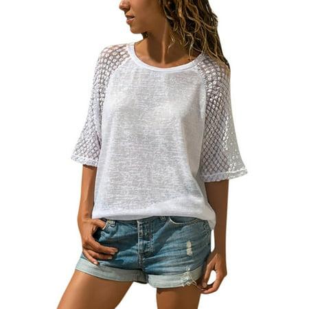 - Women's Lace 3/4 Raglan Sleeve Casual Loose T-Shirt