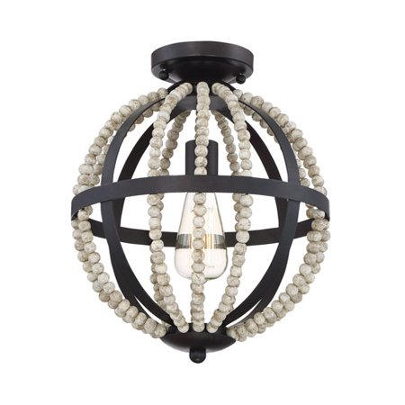 Grace Oil Rubbed Bronze One-Light Semi Flush Mount with Natural Wood Beads (Ribbed Wood)