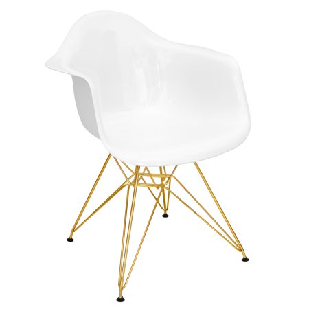 Neo Flair Mid Century Modern Diningaccent Chair In White And Gold