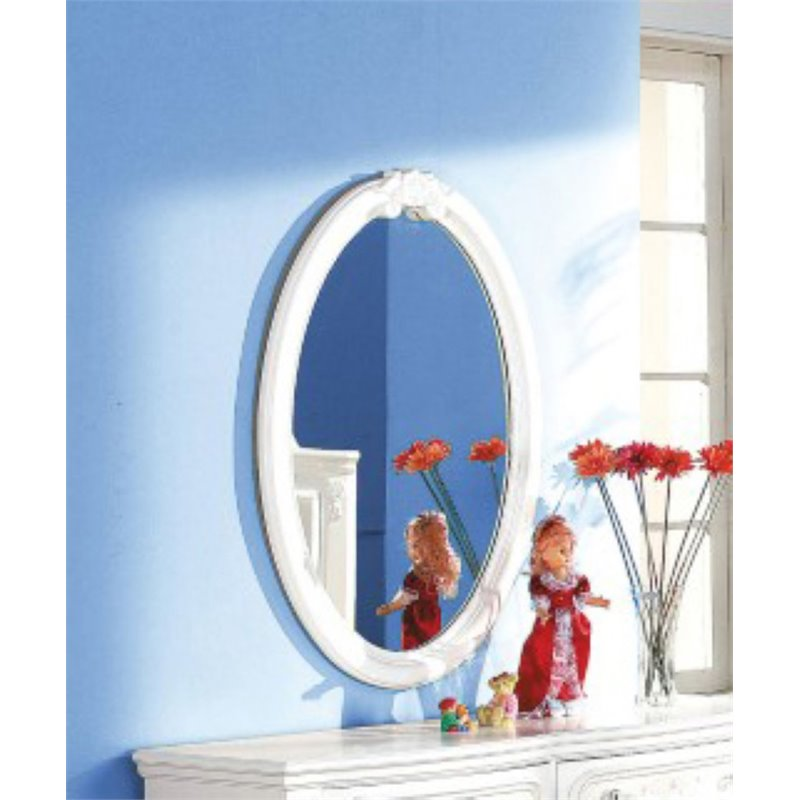 ACME Flora Oval Mirror in White by Acme Furniture
