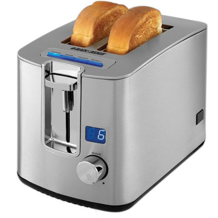 BLACK+DECKER 850W 2-Slice Toaster with Digital Display, TR1280S
