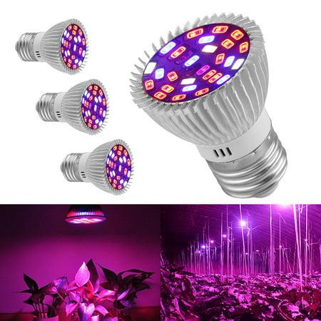 TSV 4Pcs 28W LED Grow Light E27 Lamp Bulb for Garden Plant Hydroponic Full Spectrum