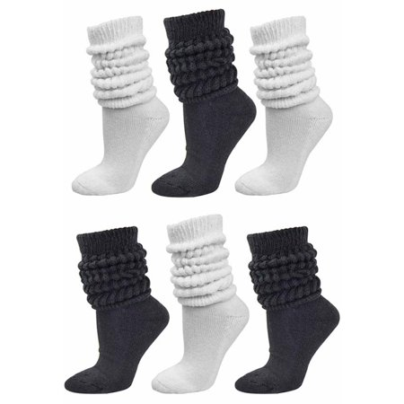 Black & White All Cotton 6-Pack Extra Heavy Super Slouch Socks - Orange Knee Socks