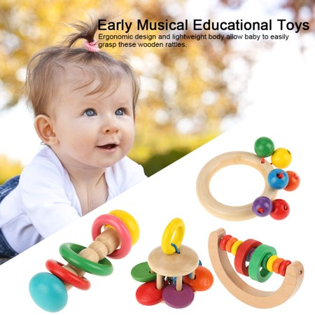Infant Safe Toys,Baby Educational Toys,Ymiko Baby Safe Wooden Rattles Grasp Toy  Infant Early Musical Educational Toys