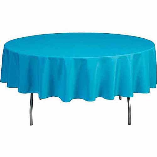"Shindigz Round 120"" Polyester Tablecloth, Black"