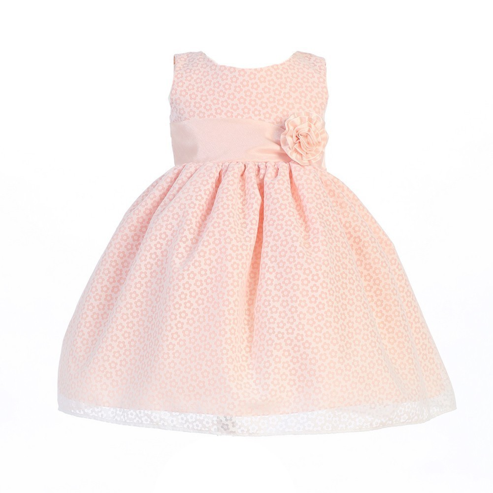Baby Girls Peach Cotton Burnout Special Occasion Dress 12 18m