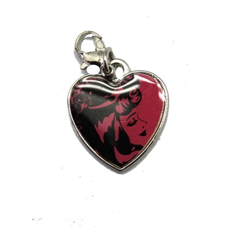 Princess Pink and Black Colored Heart Shaped Clip-On Charm