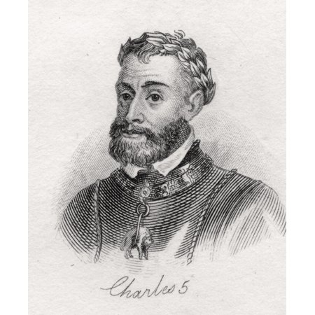 Charles V 1500-1558 Holy Roman Emperor 1519-58 And As Charles I King Of Spain 1516-56 Archduke Of Austria From The Book Crabbs Historical Dictionary Published 1825 Canvas Art - Ken Welsh  Design