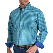 Wrangler Apparel Mens  George Strait  Printed Long Sleeve Button Up Shirt S Blue/Green