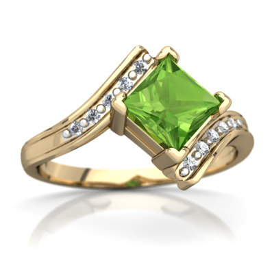 Peridot Bypass Ring in 14K Yellow Gold