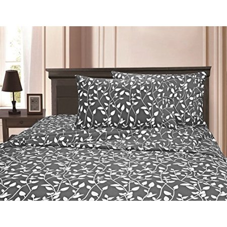 mattrest 1500 thread count egyptian quality super soft wrinkle resistant & fade resistant beautiful leaf design 4-piece sheet set, deep pocket up to 16