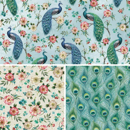 David Textiles Cotton Fabric Feathered Peacock Collection 44 Inches ()