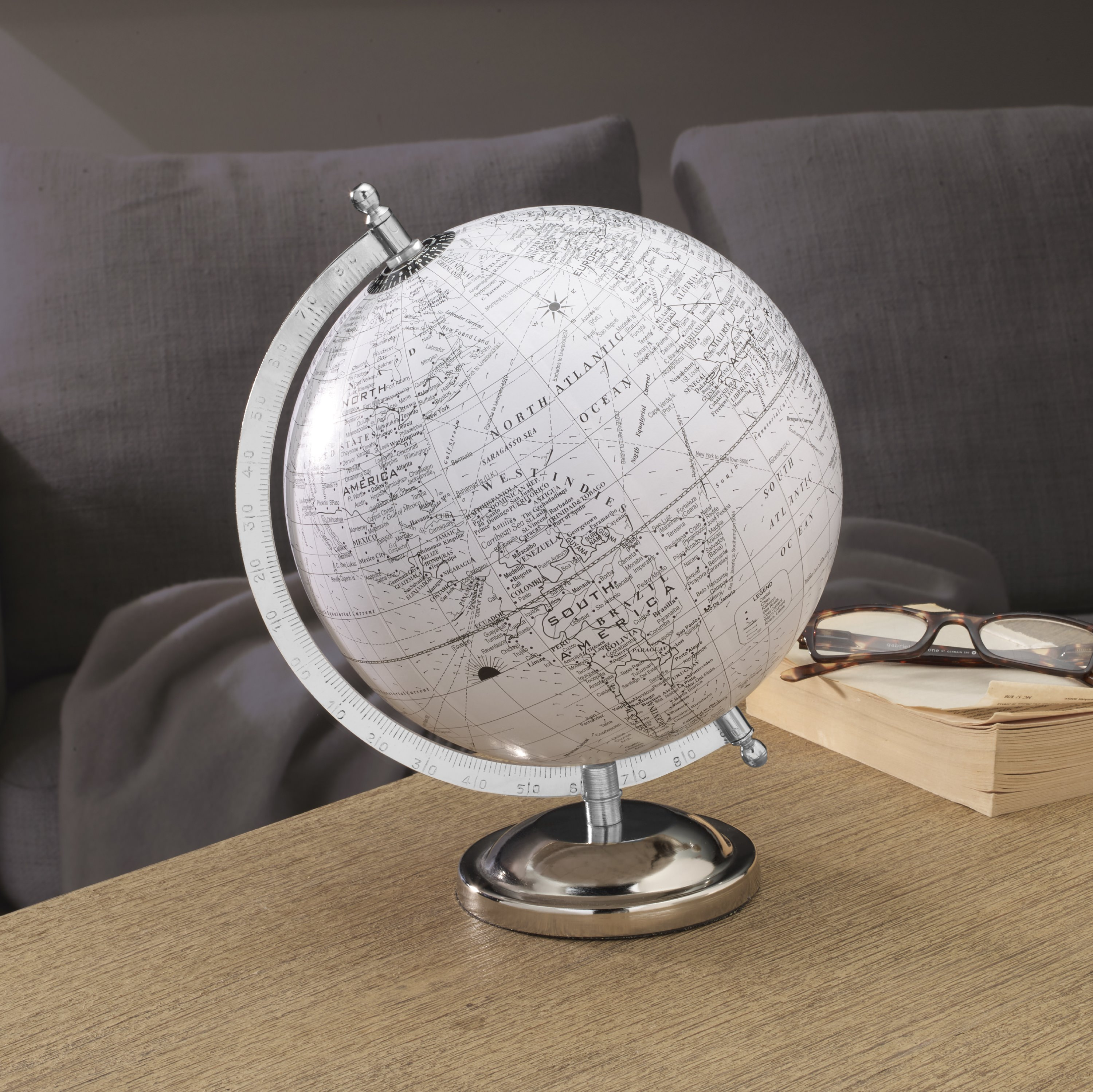 Elements 8 Inch X 11 Inch Tabletop Globe With Metal Stand, White