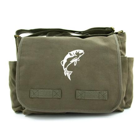 Jumping Bass Fish Army Heavyweight Canvas Messenger Shoulder Bag