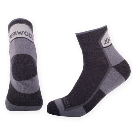 MERIWOOL 2 Pairs Merino Wool Cushioned Quarter Calf Hiking Socks