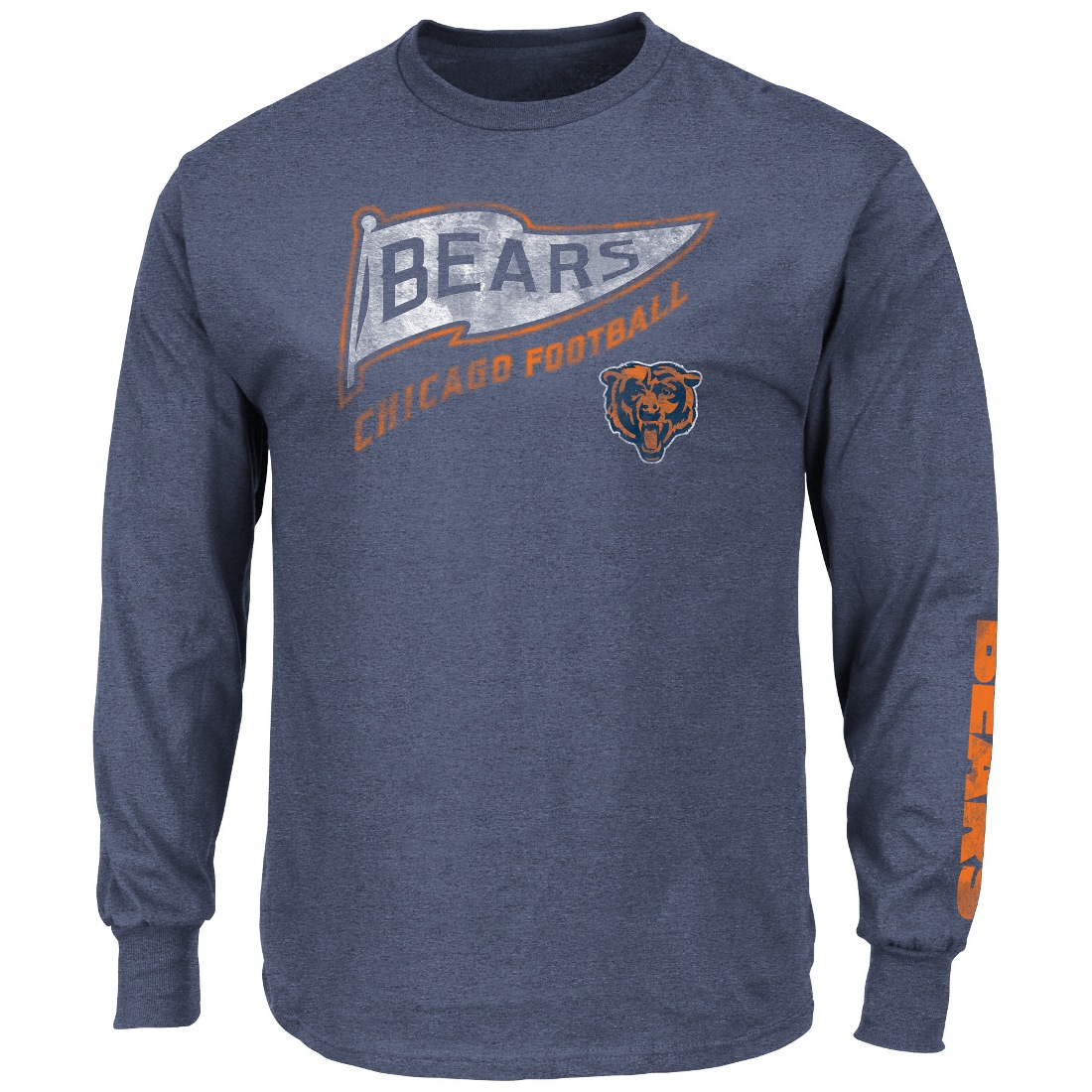 "Chicago Bears Majestic NFL ""A Life Above"" Long Sleeve Men's Distressed T-Shirt"