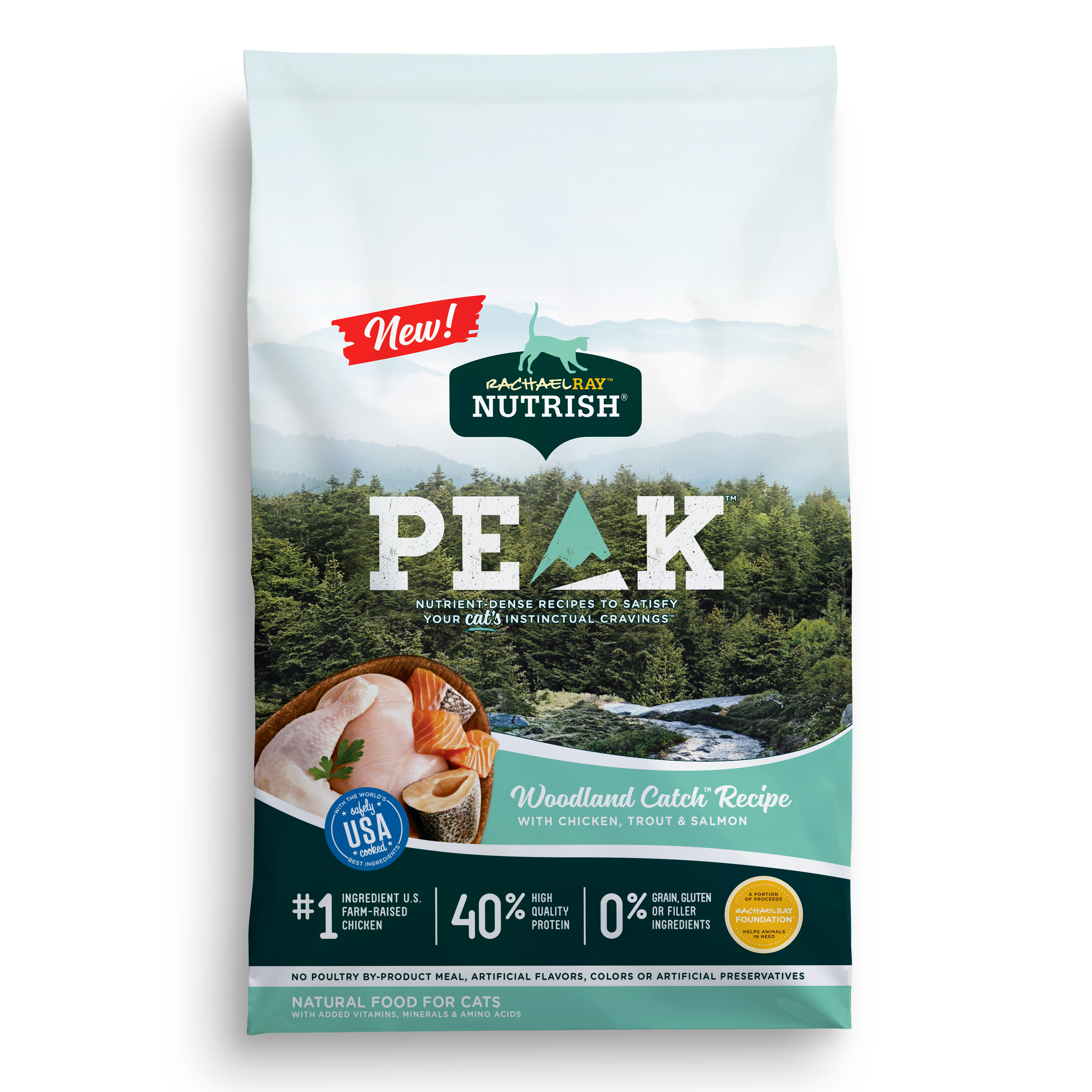 Rachael Ray Nutrish Peak Grain-Free Woodland Catch Natural Dry Cat Food (Various Sizes)