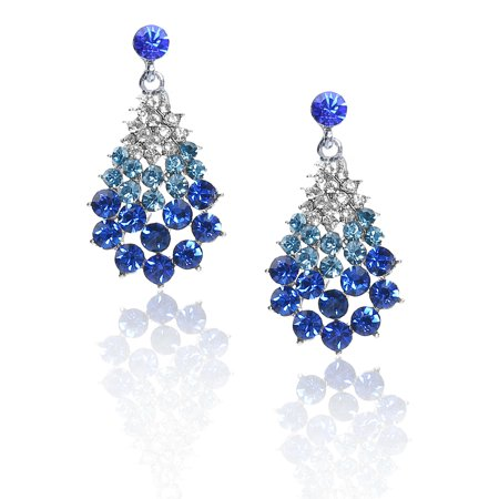 5579e8ba8 Women Hot Fan-Shaped Rhinestone Drop Dangle Hook Earring Ear Stud Cool Dark  Blue ...