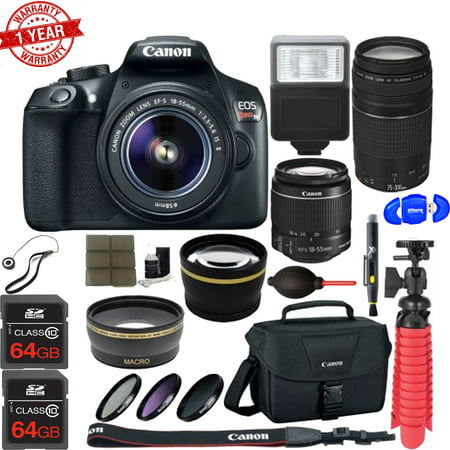 Canon EOS 1300D / Rebel T6 Digital SLR Camera w/ EF-S 18-55mm IS   EF-S 75-300mm Lens (Best Rated Digital Cameras 2019)