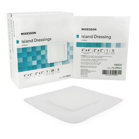 Polypropylene Sterile - McKesson Adhesive Island Dressing  4 X 4 Inch Polypropylene / Rayon Square 2 X 2 Inch Pad Sterile, Box of 25, 2 Pack