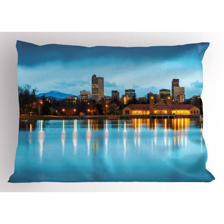 Urban Pillow Sham Downtown Denver Ferril Lake Colorado At The Morning City Park Capital  Decorative Standard Queen Size Printed Pillowcase  30 X 20 Inches  Sky Blue Yellow Orange  By Ambesonne