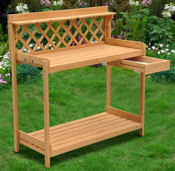 Yaheetech Wood Potting Bench Outdoor Garden Planting Work Station Table  Stand Natural Finish