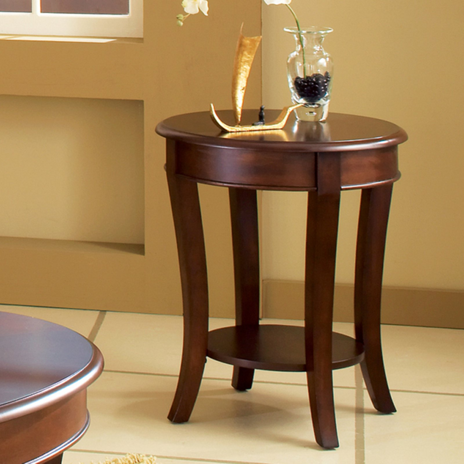 Superb Steve Silver Troy Round Cherry Wood End Table