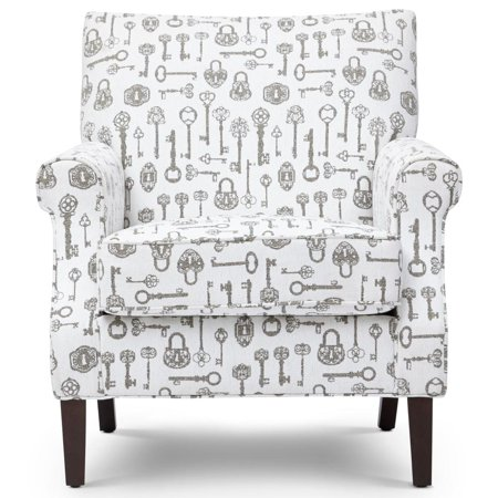 Awesome Transitional Wood Fabric Accent Chair With Rolled Arms White Gray Bralicious Painted Fabric Chair Ideas Braliciousco