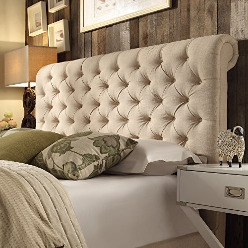 ModHaus Living Modern Beige Linen Upholstered Rolled Top Button Tufted Chesterfield King Headboard - Includes Pen